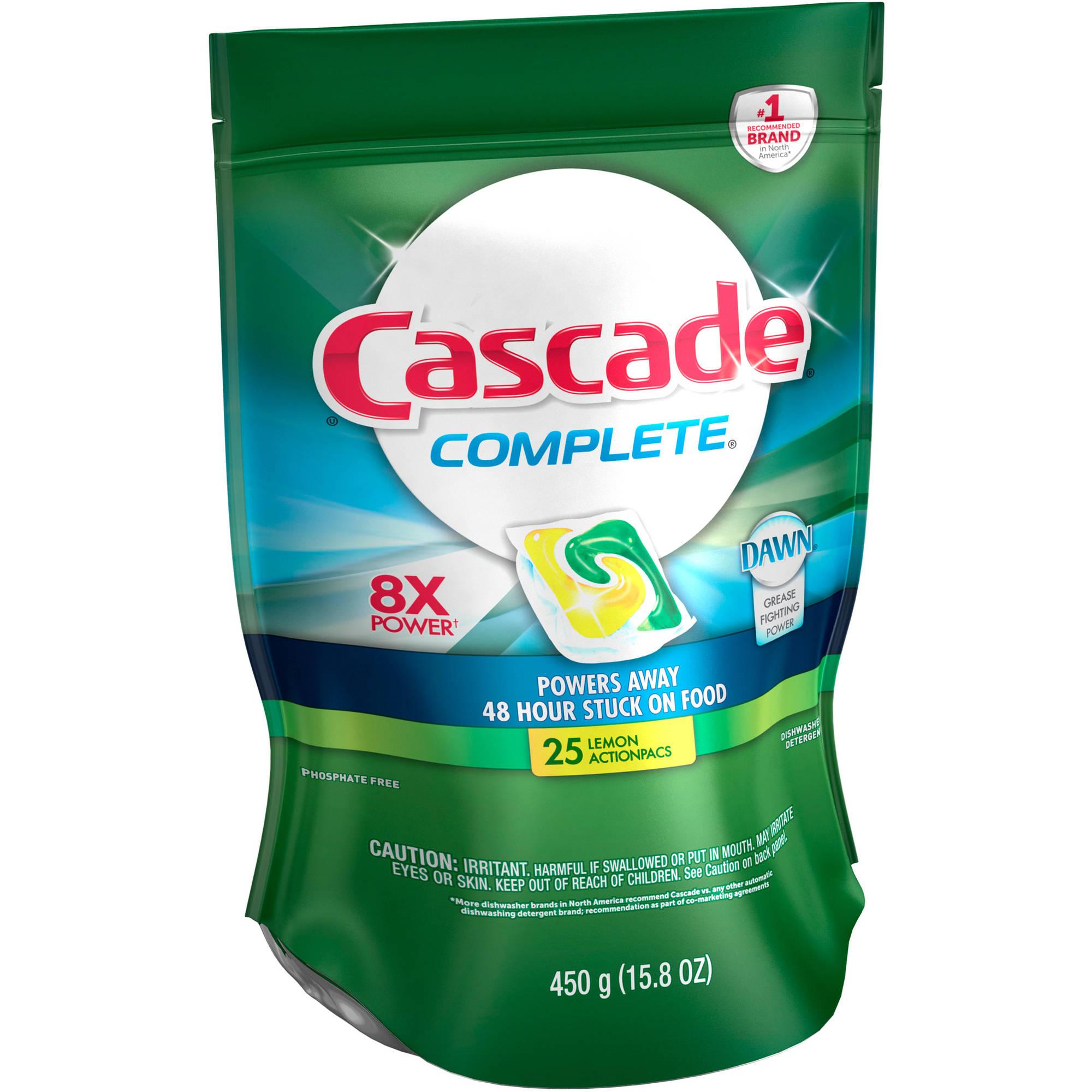 Cascade Complete ActionPacs Dishwasher Detergent Lemon Burst, 25 count