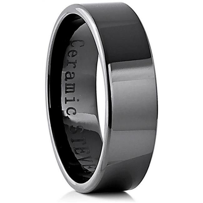 Doma Jewellery SSCER0458. 5 Ceramic Ring 7 mm.  Wide, Size 8. 5