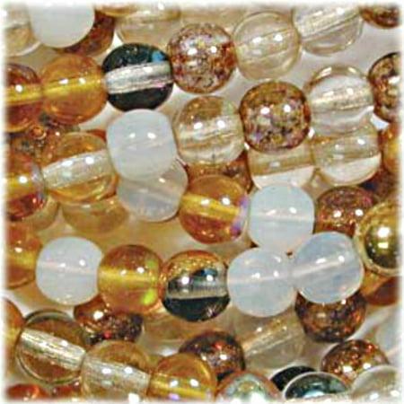 - Czech Glass Druk 4mm Round Honey Butter Mix