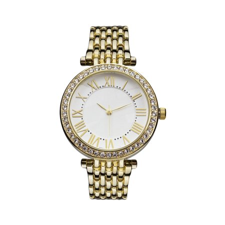 Roman Numeral Dial Watch Womens Gold Tone 36mm Lab Created Cubic Zirconia Bezel Analog -
