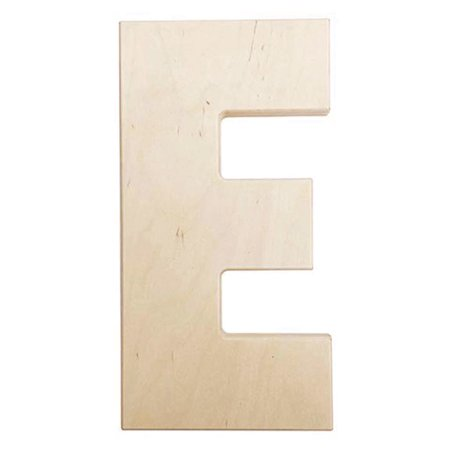 Large Unfinished Wood Letter: E - 12 inches