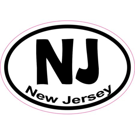 3X2 Oval NJ New Jersey Sticker Vinyl State Vehicle Window Stickers Bumper Decal - Oval Vinyl Sticker