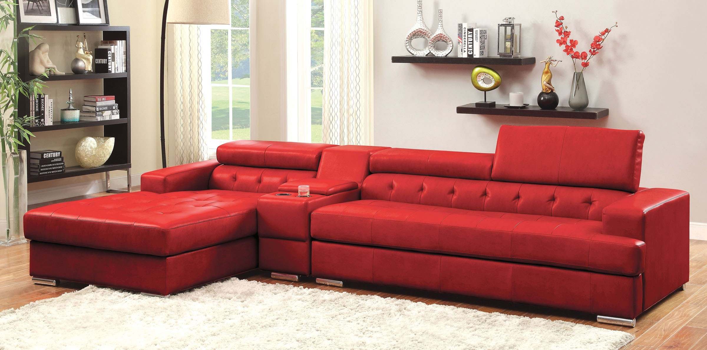 Modern Contemporary Sectional Sofa w Console T Cushion Tufted Red
