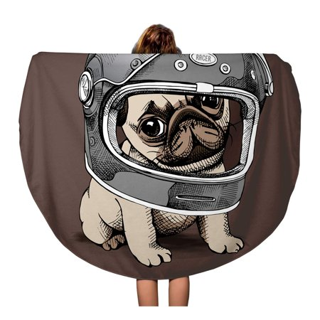 KDAGR 60 inch Round Beach Towel Blanket Brown Dog Puppy Pug in Racer Helmet Biker Moto Travel Circle Circular Towels Mat Tapestry Beach Throw