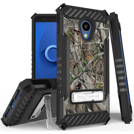 Autumn Camouflage Tree Leaf Real Woods Rugged Hunting Case Camo Cover [Metal Kickstand + Wrist Strap] for Alcatel TCL LX, A502DCP, A502DL (TracFone/Straight Talk/Simple Mobile/Total/Walmart (Real Simple Gift)