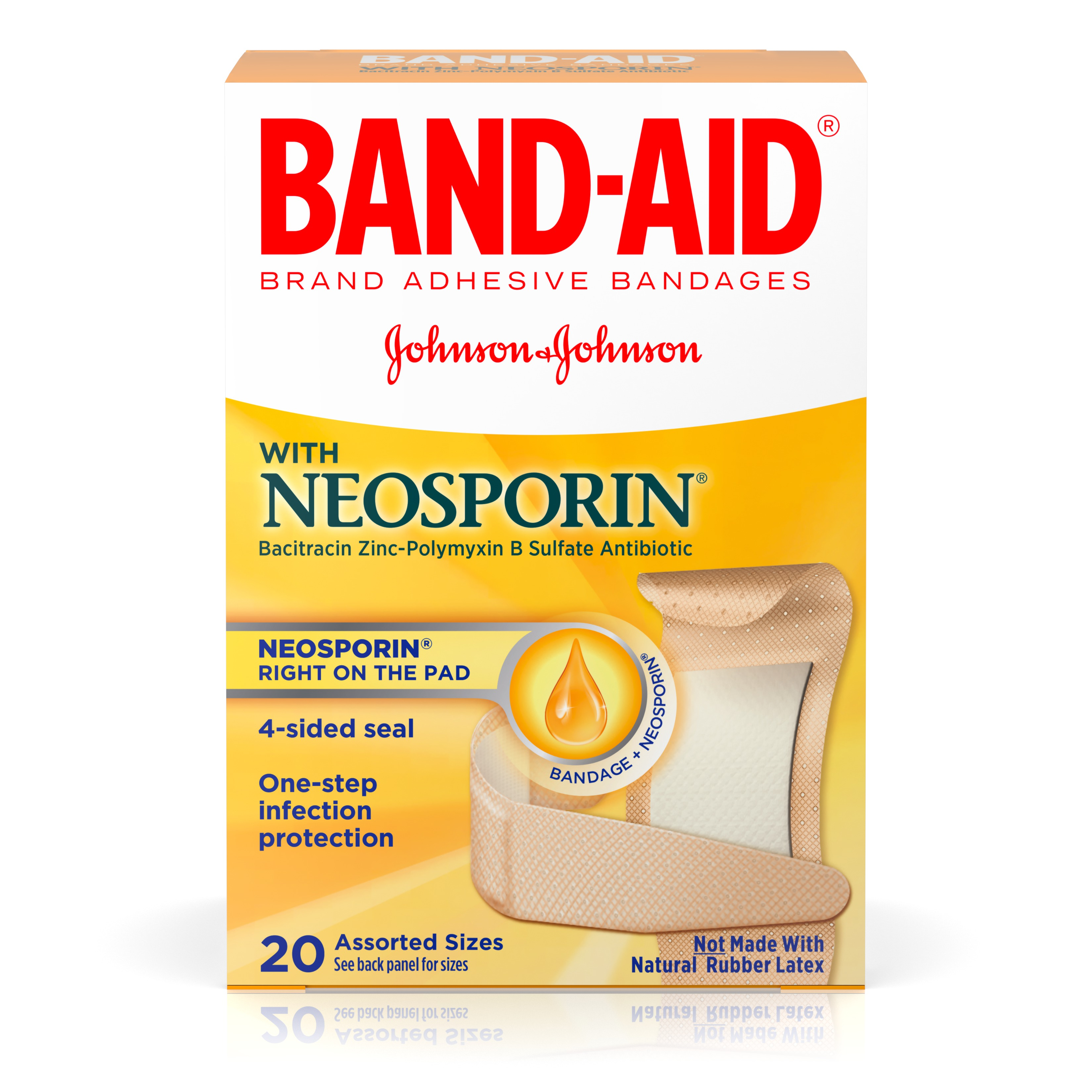 Band-Aid Brand Adhesive Bandages with Neosporin Antibiotic Ointment, Pack of Assorted Sizes, for Wound Care and First Aid, 20 ct