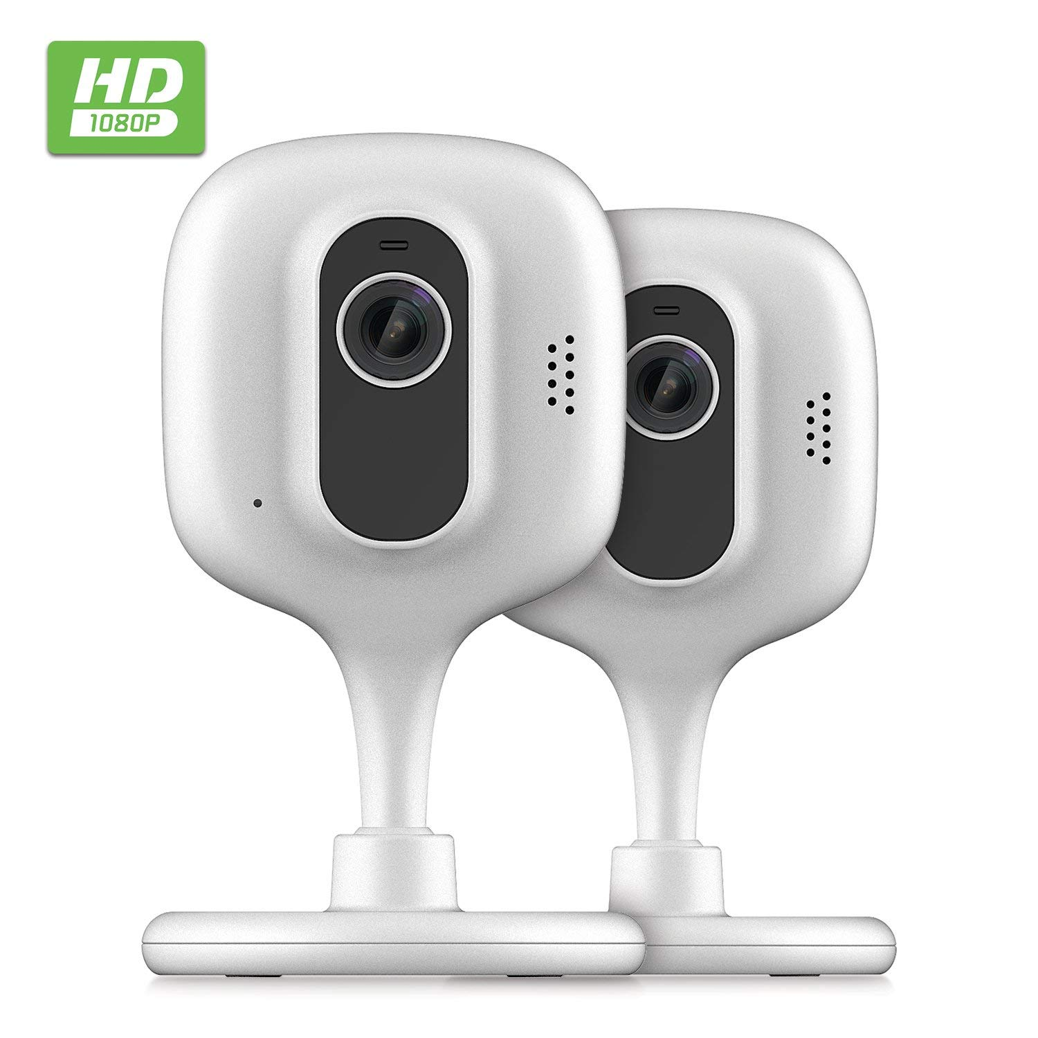 2-Pack Zencam 1080p WiFi Camera, Indoor Security Wireless IP Camera, Two-Way Talk, Night Vision for Home, Office, Baby, Pet Cam with MicroSD & Cloud Storage, Supports 2.4Ghz, White (2PACK-E2W)