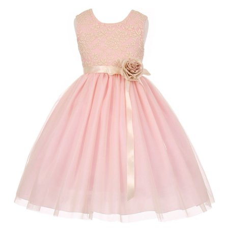 Little Girls Pink Lace Satin Sash Corsage Tulle Flower Girl Dress 6 (Pink Girls Dresses)