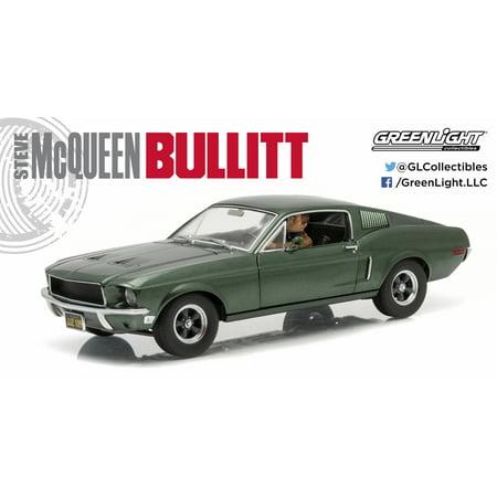 1:18 Bullitt (1968) - 1968 Ford Mustang GT Fastback - Highland Green with Steven McQueen Figure driving (2008 Ford Mustang Bullitt)