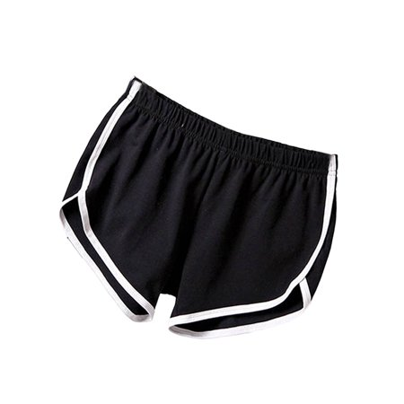 Black Ruffle Shorts (Women Girls Casual Sports Running Yoga Gym Beach)