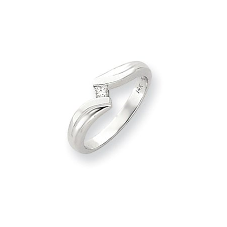 Solid 14k White Gold Polished AA Diamond Ring (6mm) (.07ct.) - Size 4