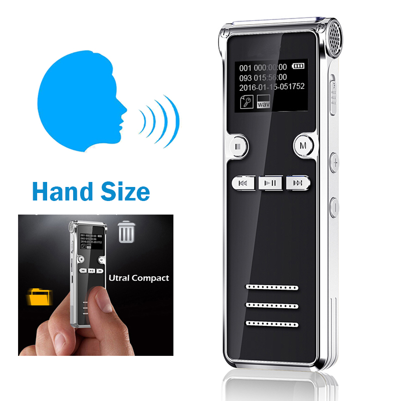 8GB Sound Voice Activated Digital Voice Recorder Easy HD Recording Of Lectures And Meetings With Double Microphone, Noise Reduction Audio Portable Mini Tape Dictaphone with MP3 function