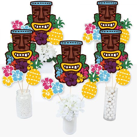 Tiki Luau - Tropical Hawaiian Summer Party Centerpiece Sticks - Table Toppers - Set of 15](Hawaiian Centerpieces Ideas)
