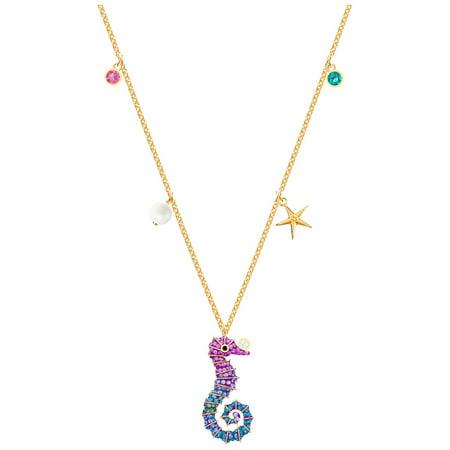 6721 Swarovski Pendant (Swarovski Ocean Seahorse Pendant - Multi-coloured - Gold)