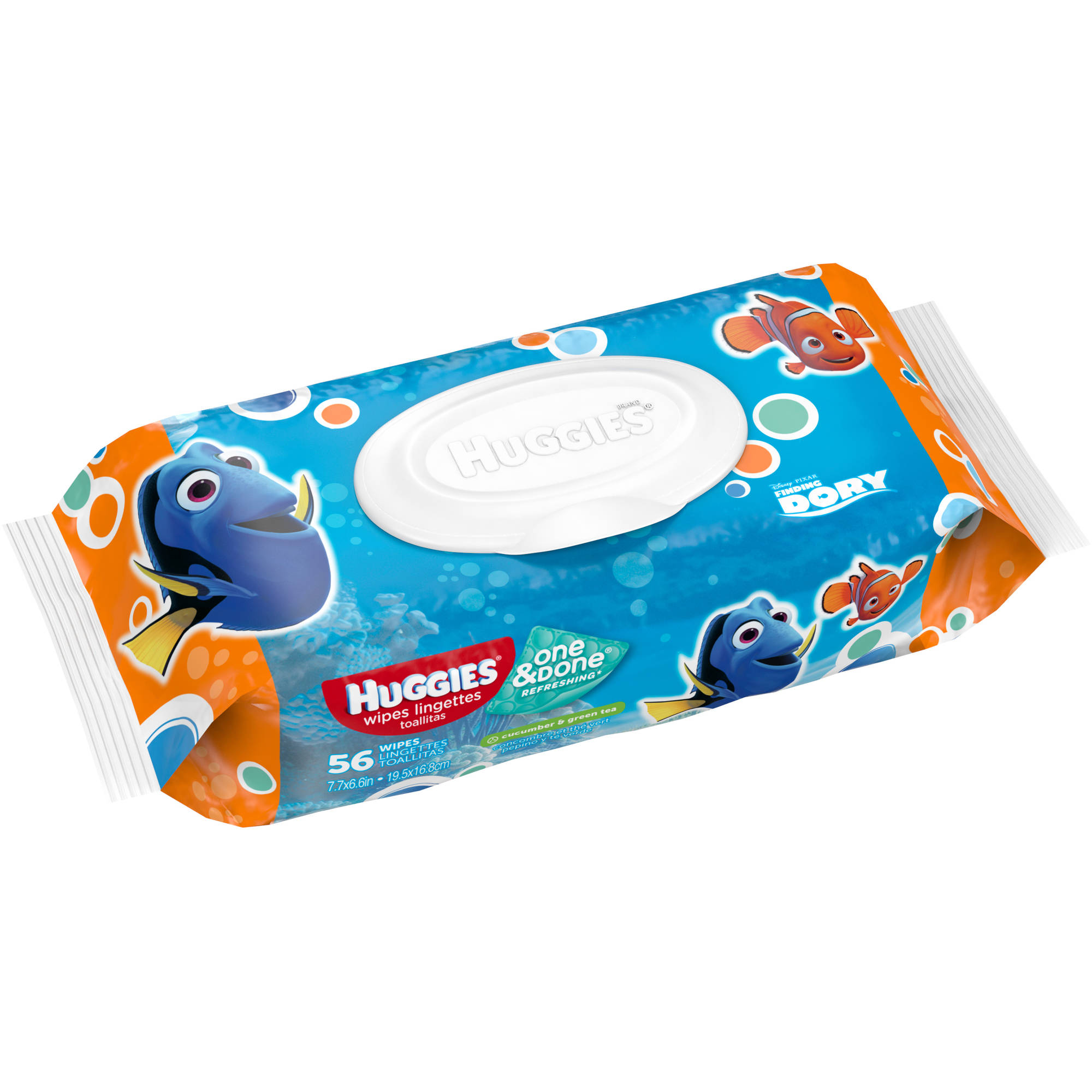 Huggies One & Done Refreshing Baby Wipes, Disney Pixar Finding Dory, Scented, Hypoallergenic, Soft Pack, 56 wipes