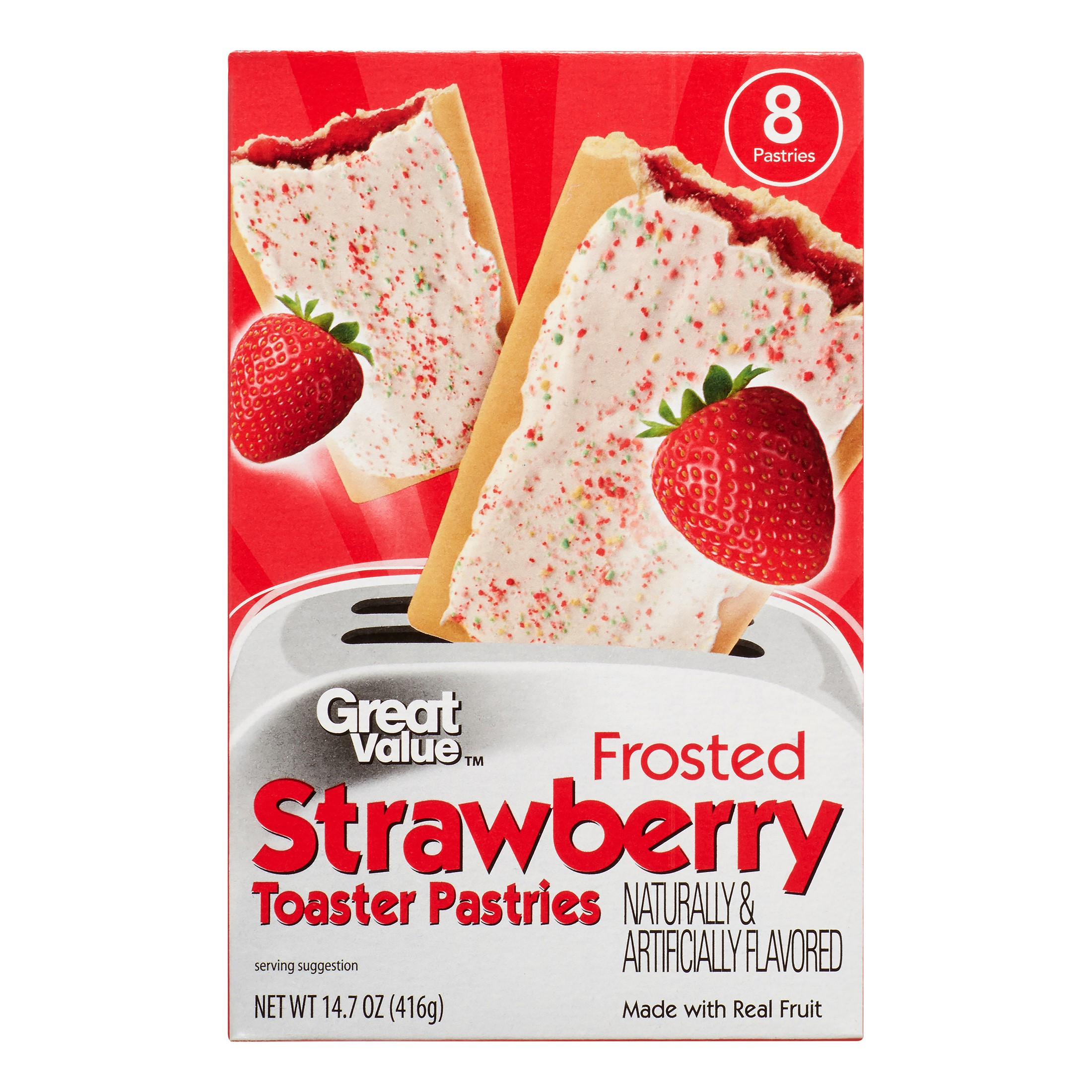 Great Value Frosted Toaster Pastries, Strawberry, 8 Count by Great Value