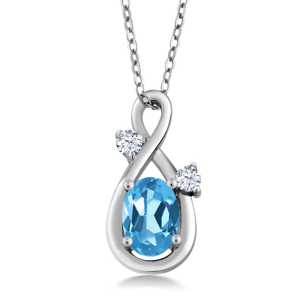 0.88 Ct Oval Swiss Blue Topaz White Created Sapphire 14K White Gold Pendant