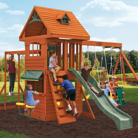 KidKraft Ridgeview Deluxe Clubhouse Wooden Swing Set