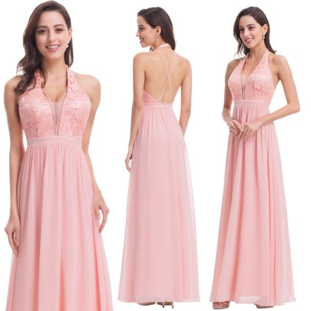 Ever Pretty Womens Flowy A Line Halter Neck Chiffon Summer Holiday Bridal Party Cocktail Wedding Guest Maxi Dresses For Women 07068 Us 12