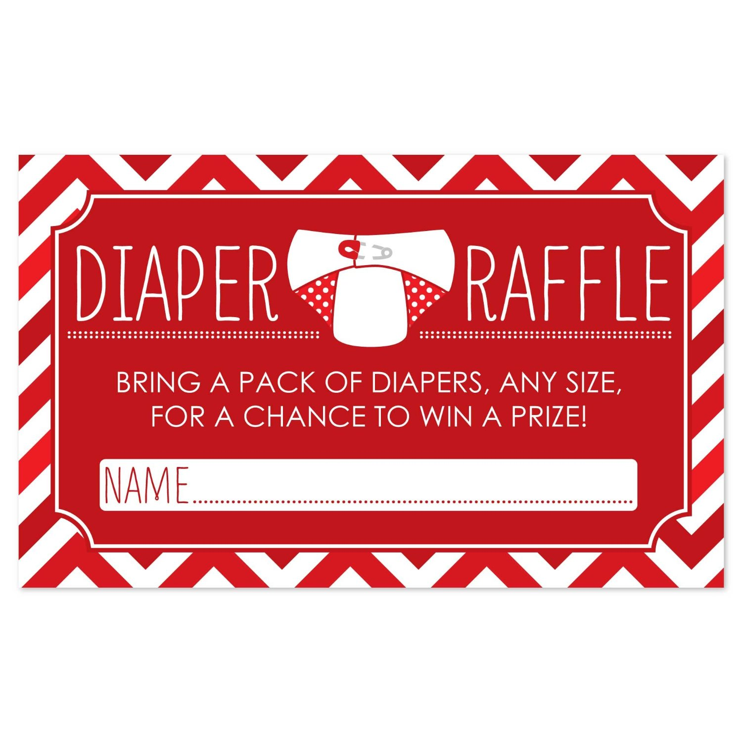 Diaper Raffle Baby Shower Game in Red - 18 Count