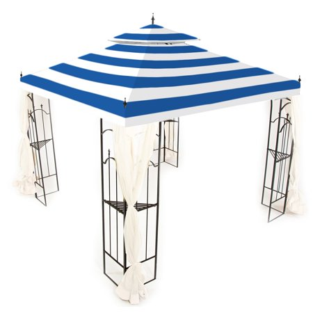Garden Winds Replacement Canopy Top Cover for the Arrow Gazebo -Standard 350 - Cabana Blue ()