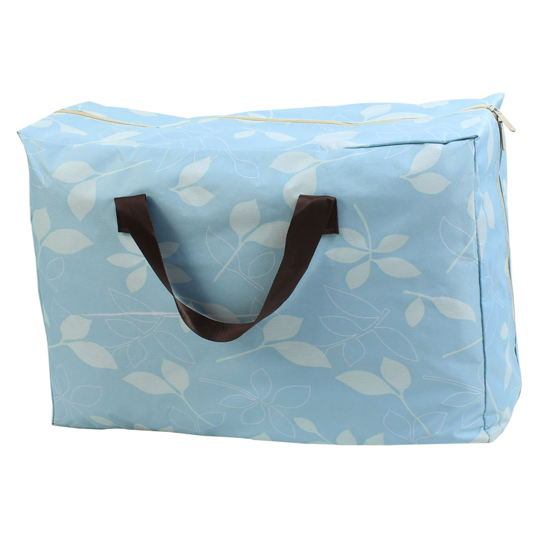 Home Fabric Flower Printed Zippered Quilt Storage Bag Blue 56 x 38 x 20cm