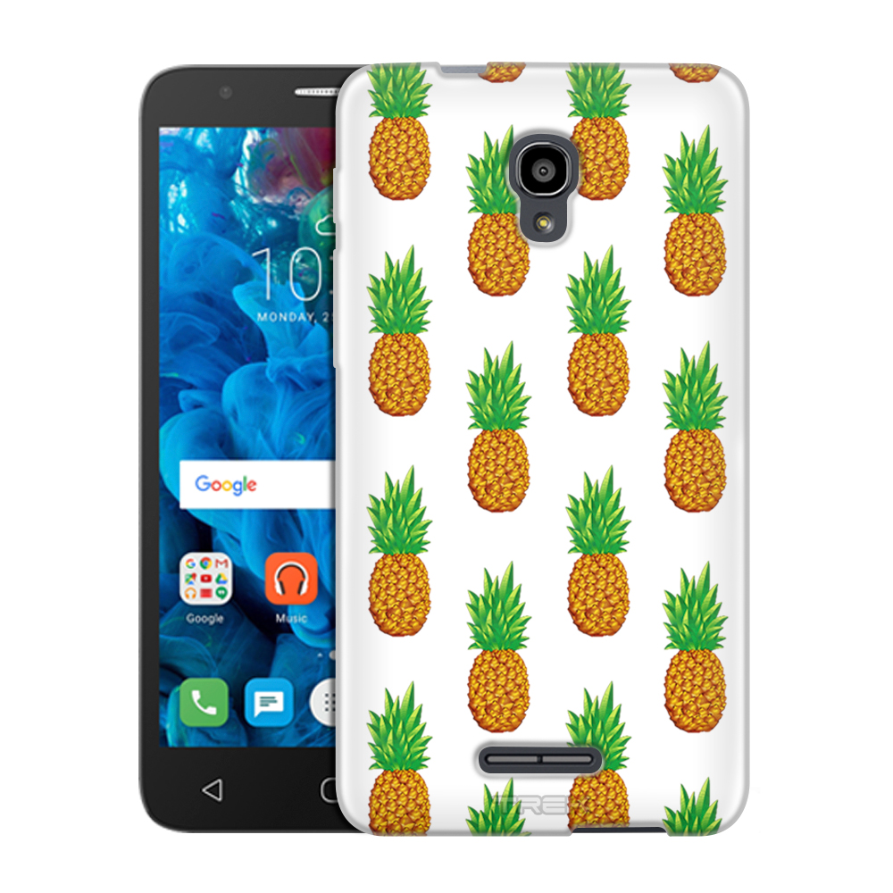 Alcatel FIERCE 4 Case, Snap On Cover by Trek Pineapples on White Slim Case