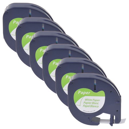 GREENCYCLE 6PK 12mm 4m Black on White Paper Label Tape for Dymo 91330 91220 91200 59421 S0721510 LetraTag Printer Disc Title Label Printer