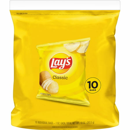 Lay's Classic Potato Chips, 1 oz Bags, 10 Count