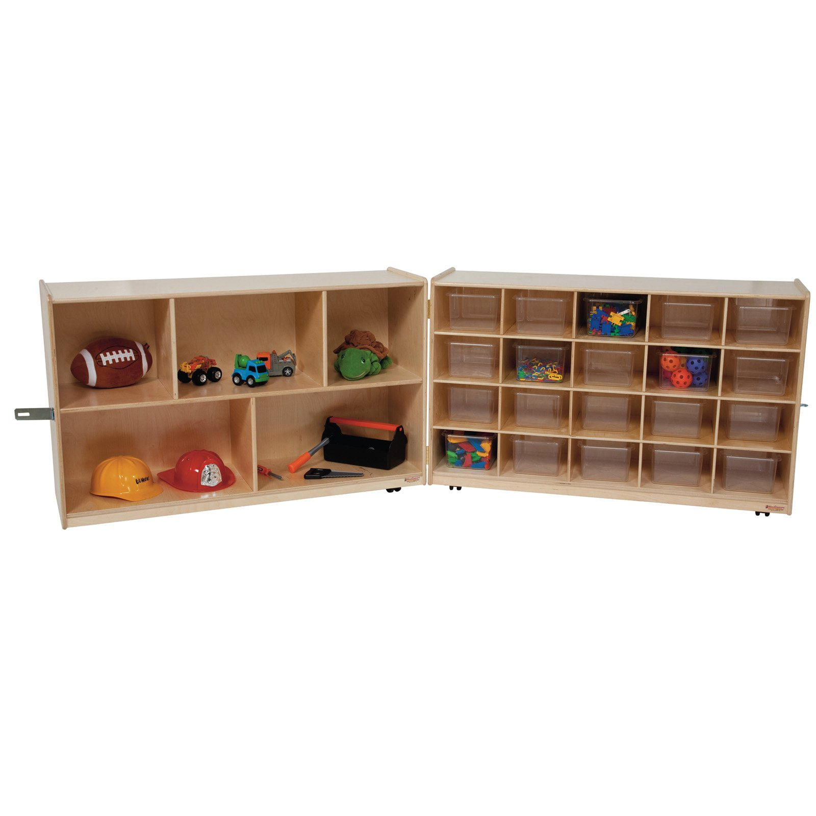 Wood Designs Natural Half and Half Folding Storage with 20 Trays