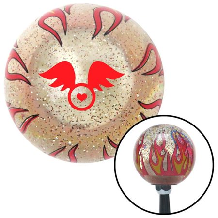 Red Flying Encased Heart Clear Flame Metal Flake Shift Knob with M16 x 1.5 Insert Brody - image 1 of 1
