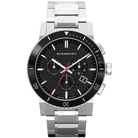 Chronograph Steel Red Dial (BURBERRY Black Dial Chronograph Stainless Steel Men's Watch BU9380 )