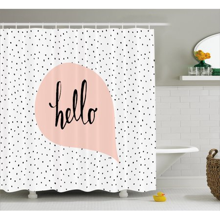 Hello Shower Curtain, Pink Speech Bubble with Hand Letter Message Hello on Background of Black Dots, Fabric Bathroom Set with Hooks, 69W X 70L Inches, Blush Black White, by -