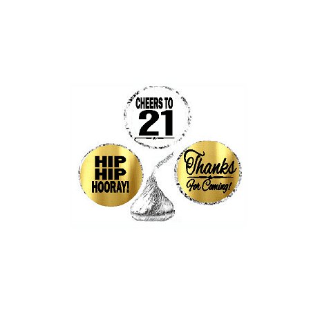 21st Birthday / Anniversary Cheers Hooray Thanks For Coming 324pk Stickers / Labels for Chocolate Drop Hersheys Kisses, Party Favors Decorations (21st Birthday Themes For Her)