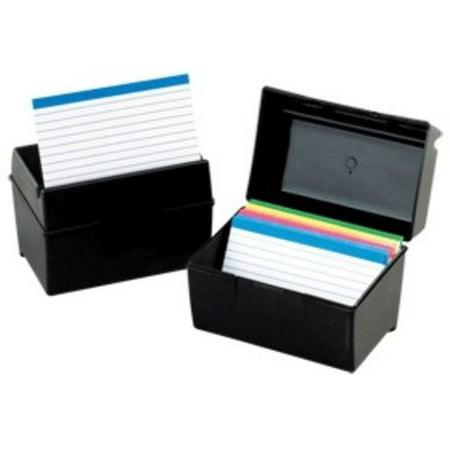 Oxford Index Card Storage Box   300 X Card   3  Height X 5  Width X 4  Depth External Dimensions   Plastic   Black   Card  01351
