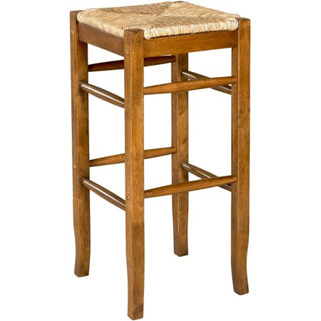 Linon Tulsa Rush Seat Bar Stool 30 In