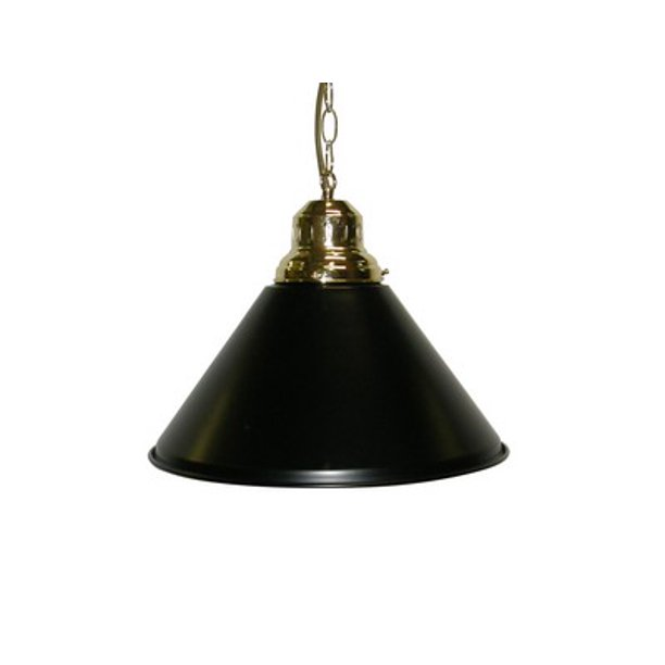 Game Room- Bar - Billiard - Pool Table Light - Pendant Brass W Metal Black Shade