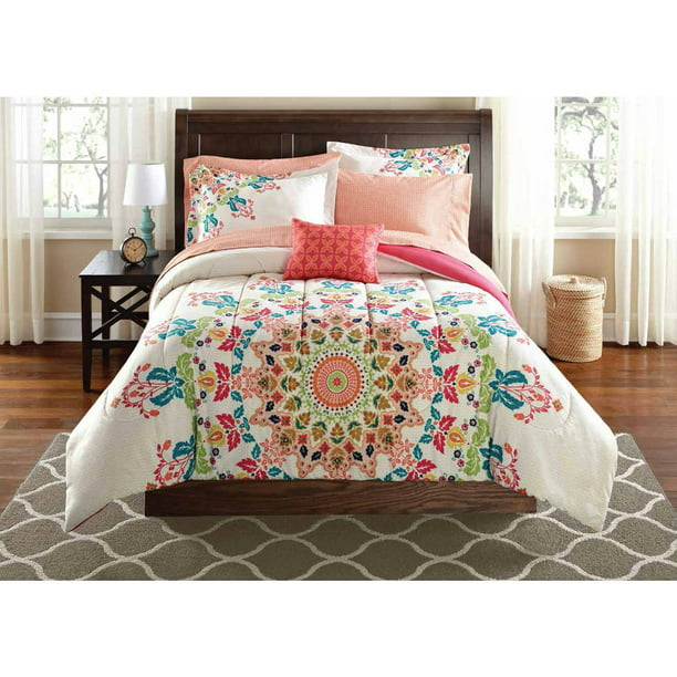 Mainstays 6 8 Piece Coral Medallion Bed in a Bag Set with Sheets