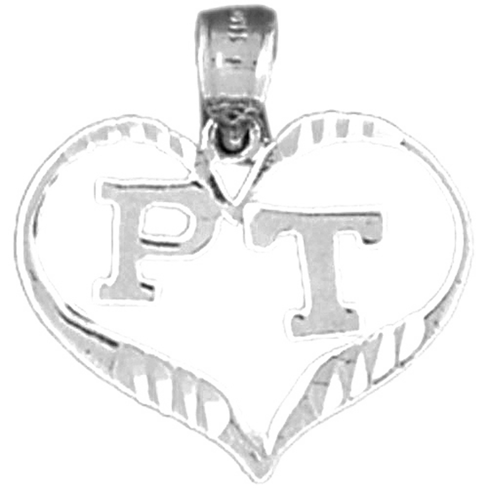 14K White Gold P.T. Physical Therapy Pendant - 18 mm
