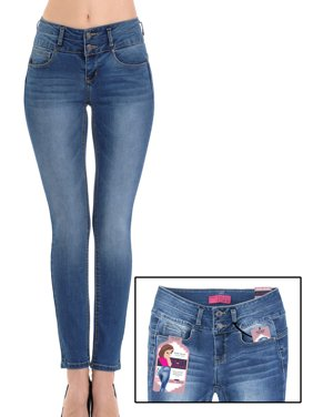 4062b17c185 Product Image Juniors  2 Button Stacked Waistband Super Stretch Skinny Jeans