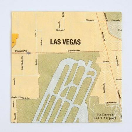 Design Ideas Mapkin, 5x5, Package of 20 Napkins, Las Vegas - Las Vegas Costumes Ideas