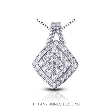 1.73ct tw H-SI1 Ex Round Natural Diamonds 14k Gold Pave Rope Edging Pendant (Tiffany Jewellery Designs)