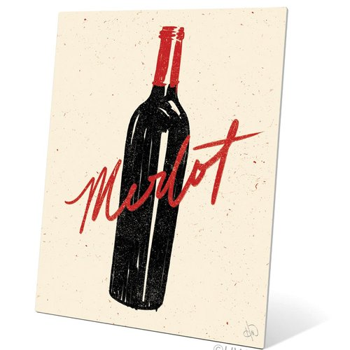 Click Wall Art Bottle of Merlot Painting Print Plaque