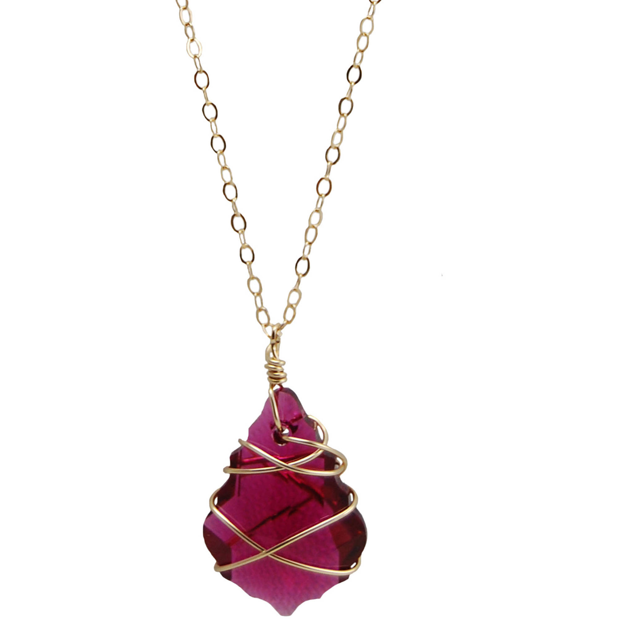 Miss Zoe by Calinana Wire Wrapped Swarovki Crystal Gold Fill Necklace, Red
