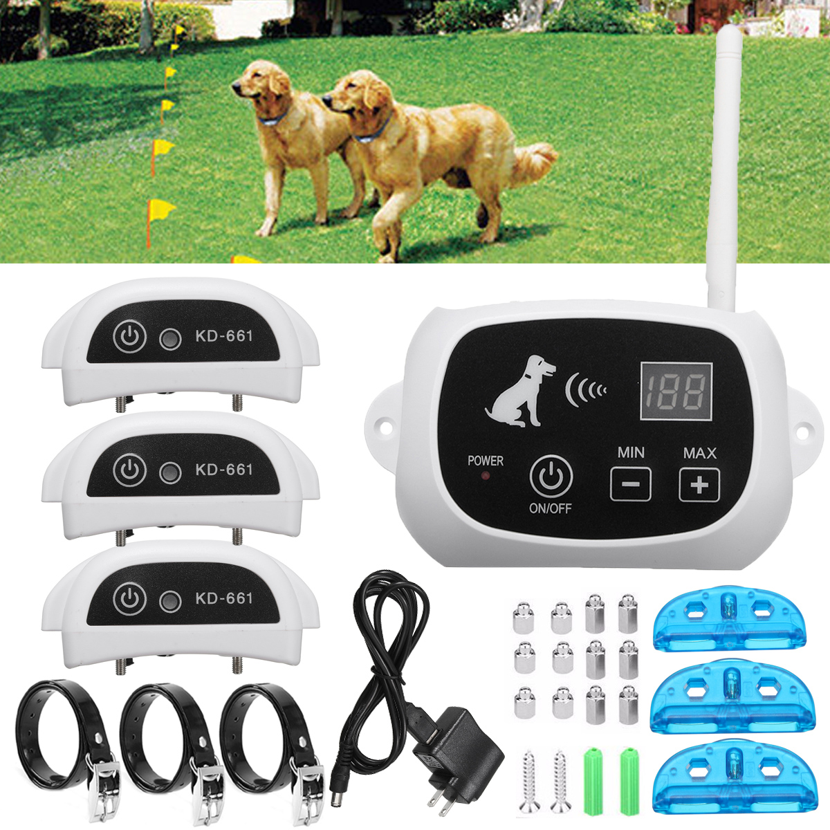 Wireless Remote Pet 3 Dog Fence No-Wire Training Containm...