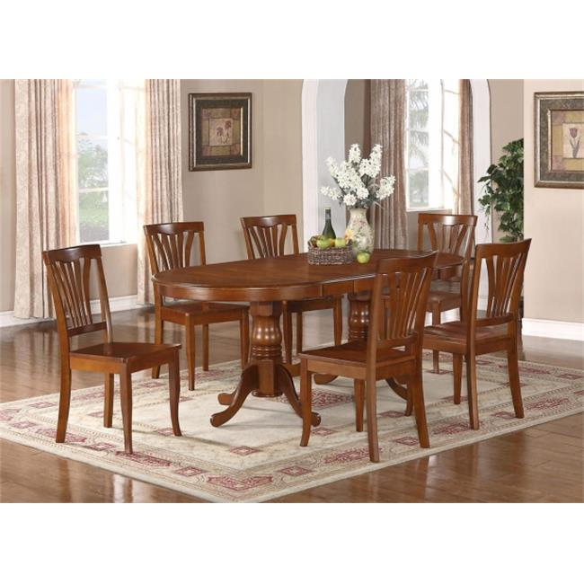 East West Furniture PLAV7-SBR-W 7-Piece Plainville Table with Double Pedestal & 6 Avon Wood Seat Chairs in Saddle Brown Finish Finish