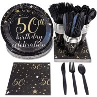 50th Birthday Party Supplies – Serves 24 – Includes Plastic Knives, Spoons, Forks, Paper Plates, Napkins, and Cups Perfect for Birthdays