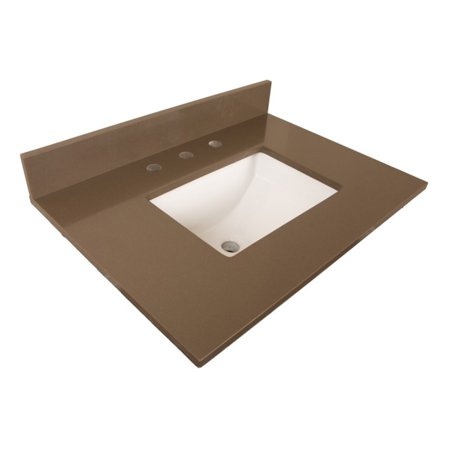 Bellaterra Home 30 in. Quartz Vanity Top with Rectangular Sink and 3 Pre-Drilled Holes