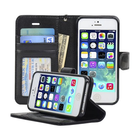 Navor iPhone Life Protective Deluxe Book Style Folio Wallet Leather Case for iPhone 5 & iPhone 5S ( Black ) Deluxe Leather Protective Case