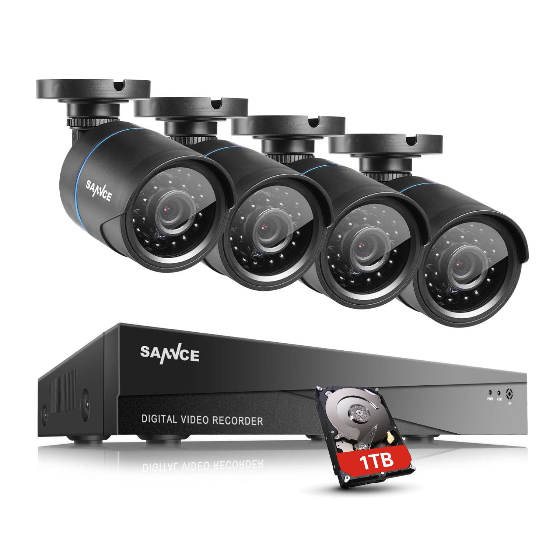 SANNCE 8CH 1080N HDMI CCTV DVR 4Pcs Waterproof 720P Camera Security Kit Homes Surveillance System NO Hard Drive Disk